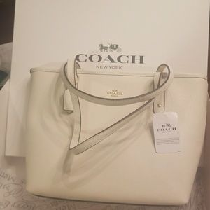 BNWT Coach Mini City Zip Tote Chalk White
